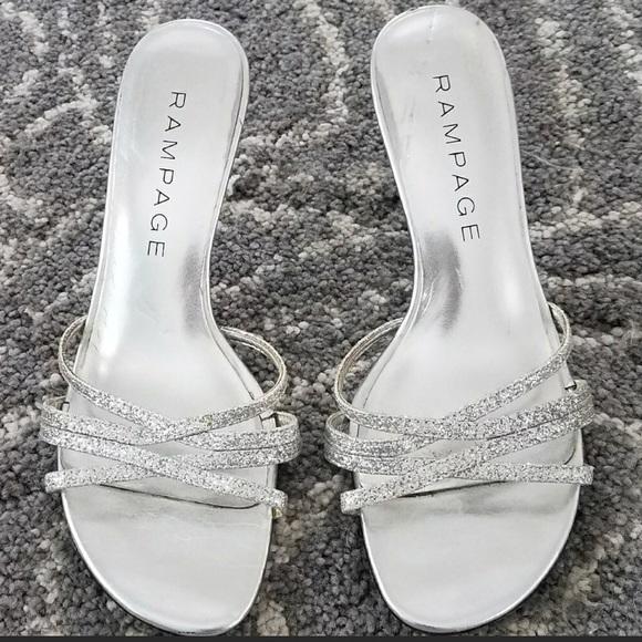 "cbe2f4cac0d3 DSW Shoes - ""Frankie"" Silver Glitter Kitten Heel Dress Sandals"